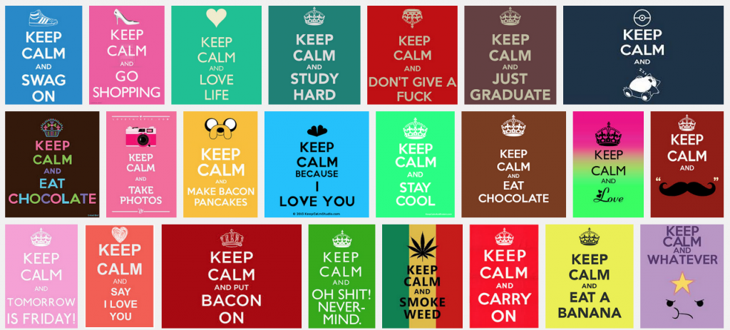 screen shot of image search showing oodle of variations on the keep calm meme